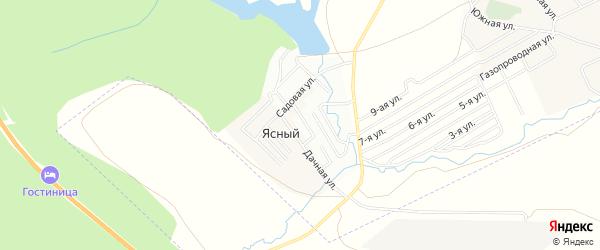 Карта деревни Ясного в Башкортостане с улицами и номерами домов