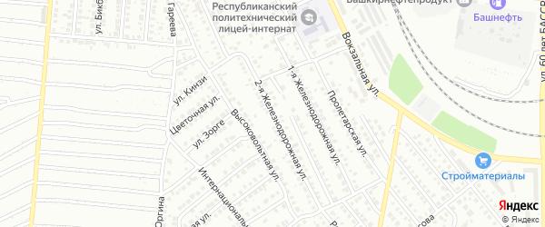 Железнодорожная улица на карте Кумертау с номерами домов