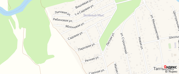 Садовый переулок на карте села Таптыково с номерами домов