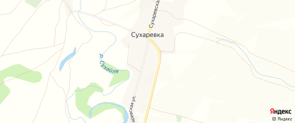 Карта деревни Сухаревки в Башкортостане с улицами и номерами домов