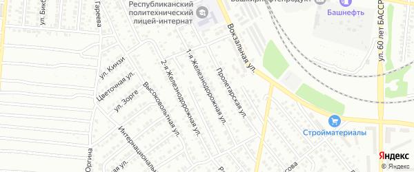 Железнодорожная 1-я улица на карте Кумертау с номерами домов
