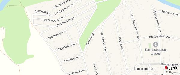 Лесная улица на карте села Таптыково с номерами домов