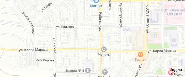 Рабочий 2-й переулок на карте Кумертау с номерами домов