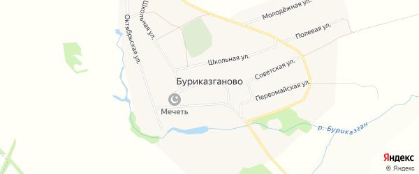 Карта села Буриказганово в Башкортостане с улицами и номерами домов
