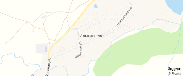 Центральная улица на карте деревни Илькинеево с номерами домов