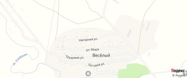Нагорная улица на карте деревни Веселого с номерами домов
