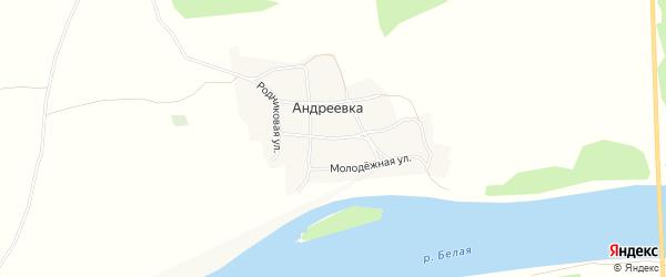 Карта деревни Андреевки в Башкортостане с улицами и номерами домов