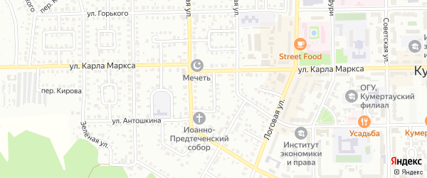 Бульварный переулок на карте Кумертау с номерами домов