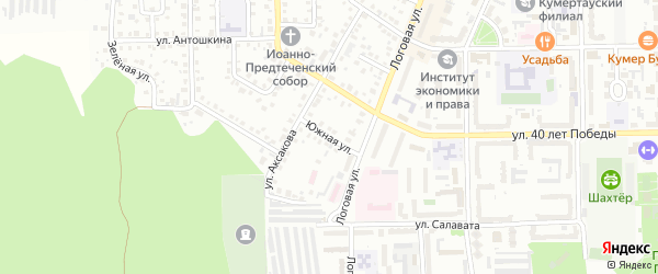 Южная улица на карте Кумертау с номерами домов