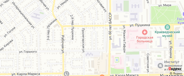 Пролетарский 1-й переулок на карте Кумертау с номерами домов
