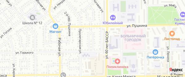 Пушкина 1-й переулок на карте Кумертау с номерами домов