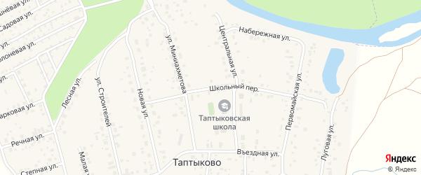 Школьный переулок на карте села Таптыково с номерами домов