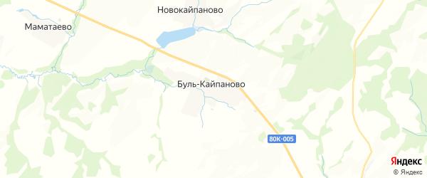 Карта Буля-Кайпановского сельсовета республики Башкортостан с районами, улицами и номерами домов