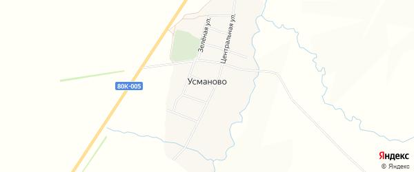 Карта деревни Усманово в Башкортостане с улицами и номерами домов