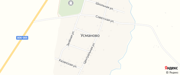 Центральная улица на карте деревни Усманово с номерами домов