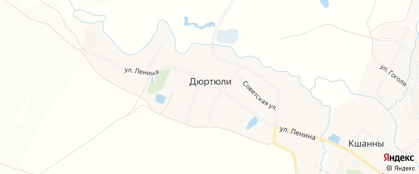 Карта деревни Дюртюли в Башкортостане с улицами и номерами домов