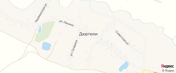 Улица Гагарина на карте деревни Дюртюли с номерами домов