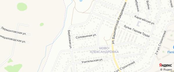 Соловьиная улица на карте Уфы с номерами домов