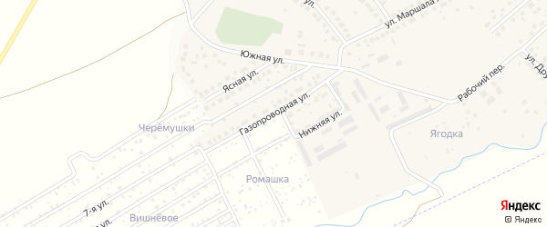 Газопроводная улица на карте села Дмитриевки с номерами домов
