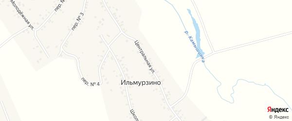 Центральная улица на карте деревни Ильмурзино с номерами домов
