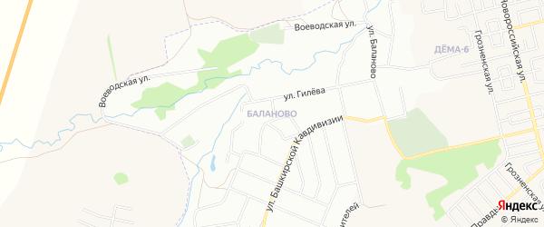 Карта поселка Новой Александровки города Уфы в Башкортостане с улицами и номерами домов
