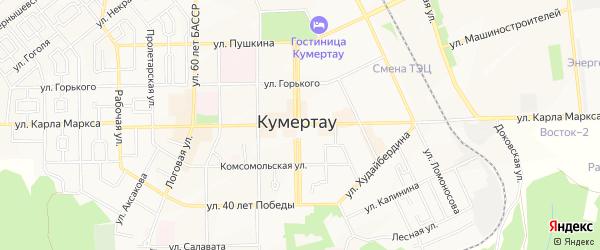 Карта деревни Алексеевки города Кумертау в Башкортостане с улицами и номерами домов