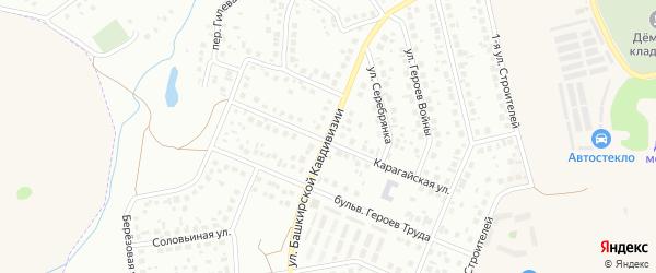 Улица Башкирской кавдивизии на карте Уфы с номерами домов