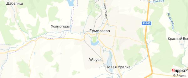 Карта Ермолаевского сельсовета республики Башкортостан с районами, улицами и номерами домов