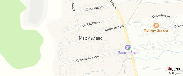 Школьная улица на карте деревни Мармылево с номерами домов