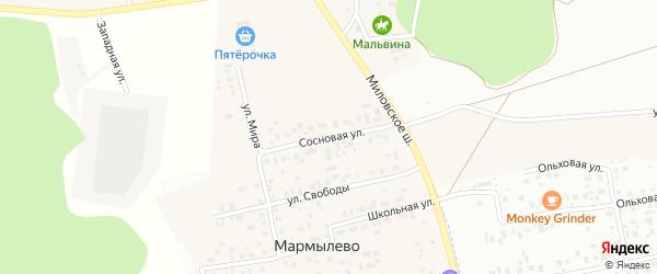 Сосновая улица на карте деревни Мармылево с номерами домов