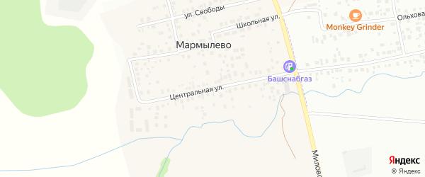 Центральная улица на карте деревни Мармылево с номерами домов