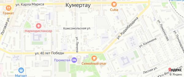 Комсомольский 1-й переулок на карте Кумертау с номерами домов