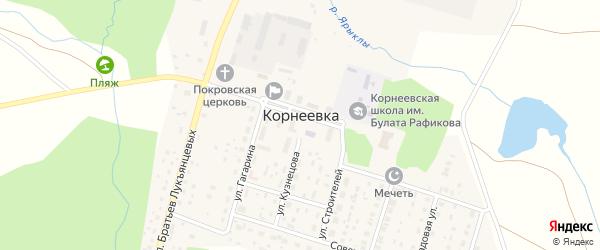 Улица Строителей на карте деревни Корнеевки с номерами домов