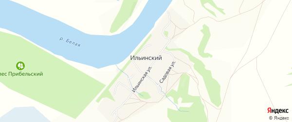 Карта деревни Ильинского в Башкортостане с улицами и номерами домов