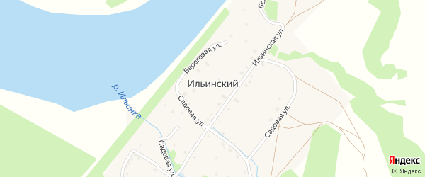 Береговой переулок на карте деревни Ильинского с номерами домов