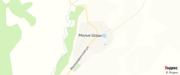 Карта деревни Малые Шады в Башкортостане с улицами и номерами домов