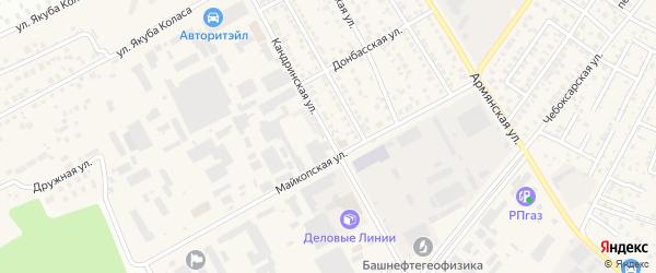 Кандринская улица на карте Уфы с номерами домов
