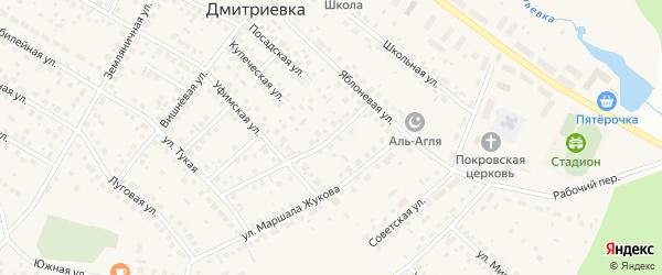 Солнечный переулок на карте села Дмитриевки с номерами домов