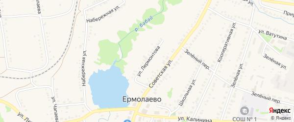Улица Лермонтова на карте села Ермолаево с номерами домов