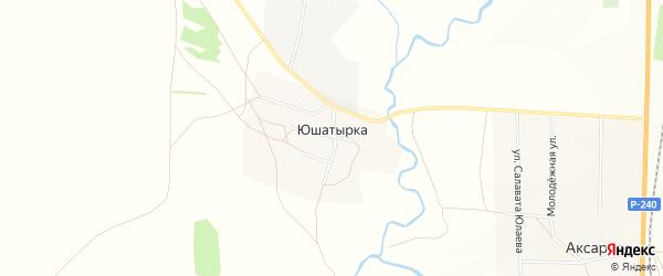 Карта деревни Юшатырки в Башкортостане с улицами и номерами домов