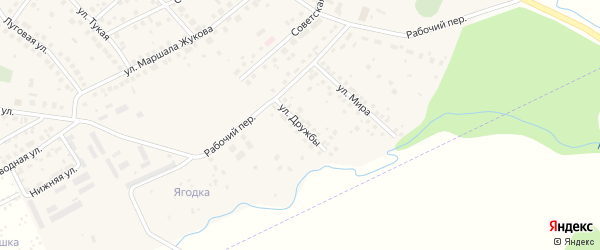 Улица Дружбы на карте села Дмитриевки с номерами домов