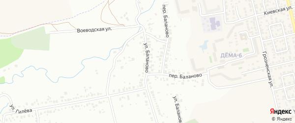Улица Баланово на карте Уфы с номерами домов