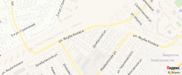 Донбасский 1-й переулок на карте Уфы с номерами домов