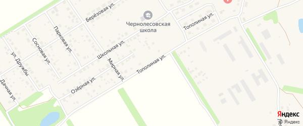 Тополиная улица на карте села Чернолесовского с номерами домов