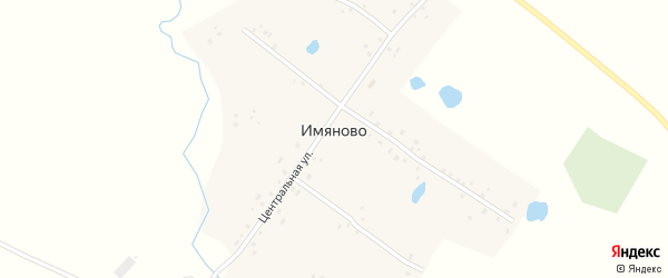 Зеленая улица на карте деревни Имяново с номерами домов