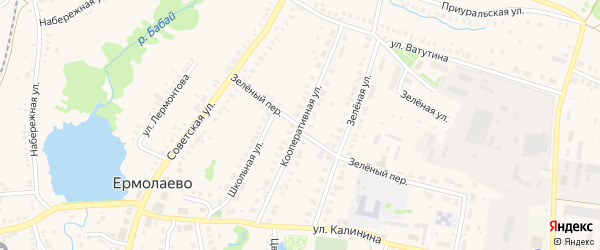 Кооперативная улица на карте села Ермолаево с номерами домов