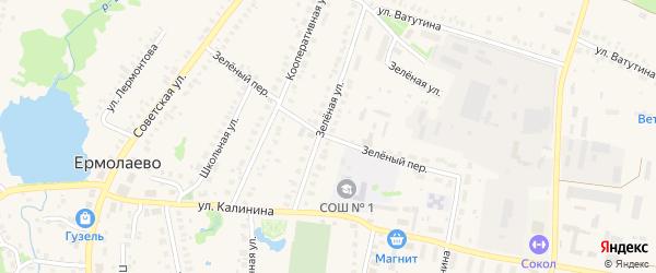 Зеленый переулок на карте села Ермолаево с номерами домов