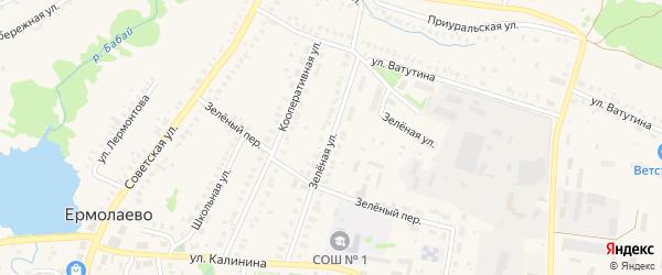 Зеленая улица на карте села Ермолаево с номерами домов