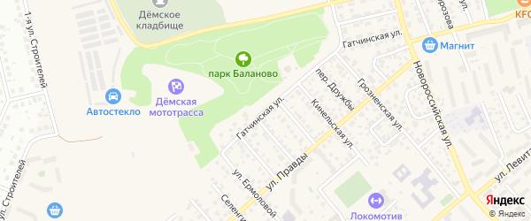Гатчинская улица на карте Уфы с номерами домов