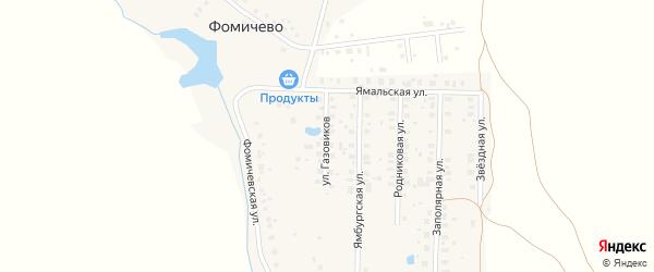 Улица Газовиков на карте деревни Фомичево с номерами домов